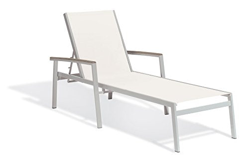 Oxford Garden Travira TVL80CV4 Chaise Lounge - Natural Sling - Vintage Tekwood Armcaps - Set of 4