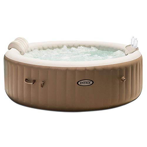 Intex PureSpa 4 Person Inflatable Bubble Jet Spa Hot Tub Set w/Tray & Headrest