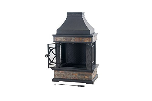 "Sunjoy 35.4"" x 23.6"" x 56.6"" Elson Slate and Steel Fireplace - Black Bronze, Large"