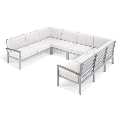 Oxford Garden 6 Piece Vintage Tekwood Travira Aluminum Loveseat Chat Set, Eggshell White