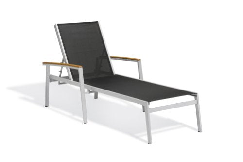 Oxford Garden Travira TVL80BV4 Chaise Lounge - Black Sling - Vintage Tekwood Armcaps - Set of 4