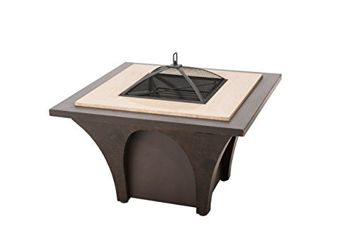 Sunjoy Artemus 32 in Steel and Faux Stone Fire Pit