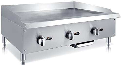 Chef's Exclusive CE786 Commercial Countertop Stainless Steel 36 inch Heavy Duty Manual Griddle Grill Liquid Propane LP Gas, 90,000 BTU per Hour 26KW, Metallic