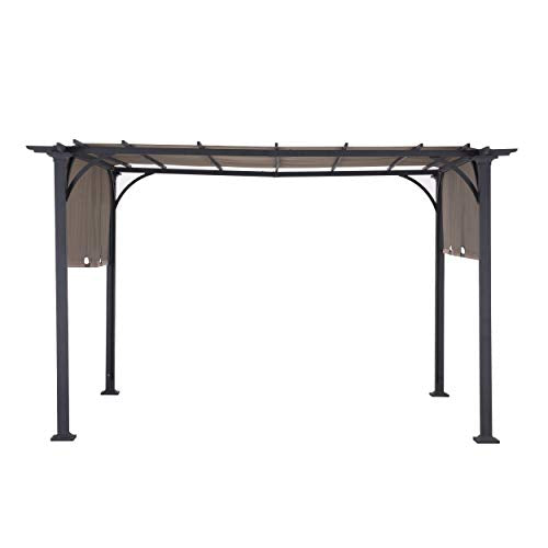 Sunjoy 110105002 Doubleton Pergola with Canopy, 8' x 10', Steel Patio Shade Gazebo 8 x 10 FT, Brown