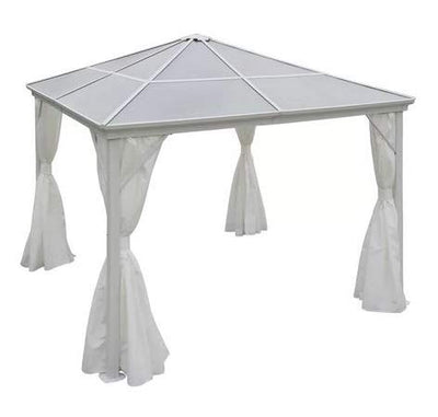White Polycarbonate Fiberglass Roof Aluminum Frame 10' W x 10' D-Hard Top Gazebo-Hard Top Gazeebo- Shaded Space for Gathering with Friends and Family