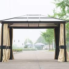 10 Ft. W x 12 Ft. D Aluminum Patio Gazebo Includes Curtains and Screens