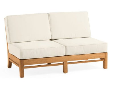New Luxurious 5 Piece Teak Sofa Set - 1 Love Seat, 2 Lounge Chairs, 1 Ottoman & 1 Side Table - Furniture only --Delmar Collection #WFSSRM2