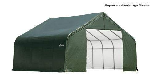 Peak Style Shelter with Green Cover - 28 x 24 x 16