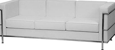 Campton Regal Series Office Lounge Contemporary White Leathersoft Sofa w/Encasing Frame | Model LNGCHR - 330