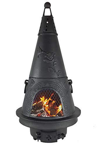 The Blue Rooster CAST Aluminum Garden Gas Chiminea in Charcoal