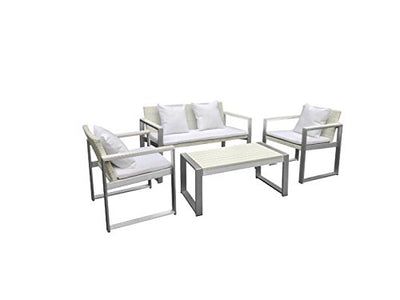Benjara BM172066 Outstandingly Voguish Outdoor Lounge Set, White
