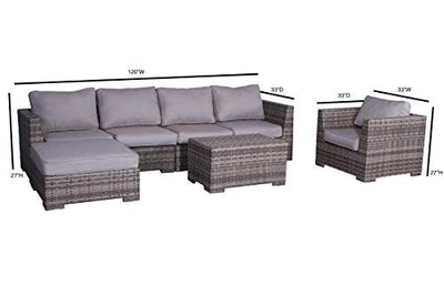 Cabana Collection Outdoor Wicker Patio Furniture Sectional Conversation Sofa Set for Backyard, Porch or Pool | No Assembly Required [CM-3101] (7 Piece Ottoman Club Lounge Set, Grey)