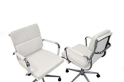 Solis Patio 655043942260 Ligna Bonded Leather Office Chairs and Tables Conference Set, White