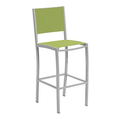 Oxford Garden Travira 7 Piece Aluminum Patio Bar Set W/ 72 X 30 Inch Rectangular Lite-Core Ash Table Go Green Sling