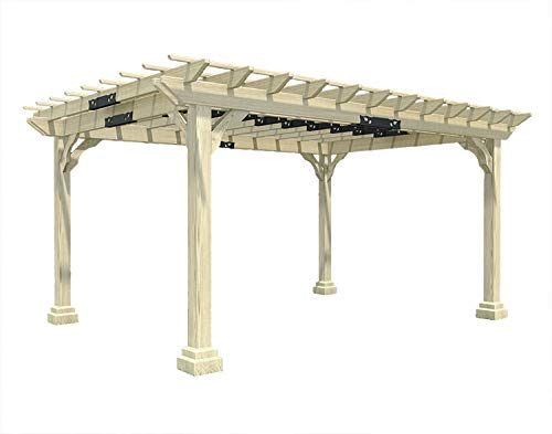 Fifthroom Markets Garden Pergola 10 Foot by 12 Foot - Durable Outdoor Treated Pine Furniture Backyard, Exterior Structures, Home and Garden