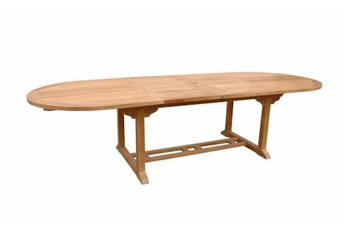 "Anderson Teak Bahama 117"" Oval Extension Table with Double Extensions"