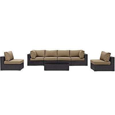 Modern Contemporary Urban Design Outdoor Patio Balcony Seven PCS Sectional Sofa Set, Brown, Rattan