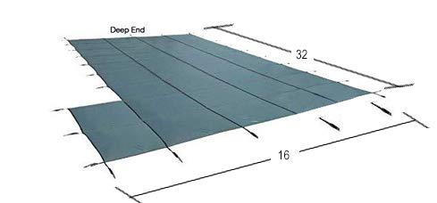Loop-Loc Swimming Pool Cover. Safety Pool Cover for Pool Size: 16 x 32 + 4 x 8 Shape: Rectangle Plus Extension Flush Left .Super Dense II Mesh Green MESH. Item ID 102