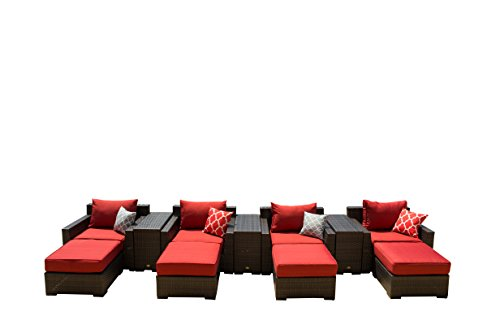 Vida Outdoor VD-PACIFIC-4CC-TERRACOTTA Pacific 4 Piece Wicker Chat Set-Terracotta Chair