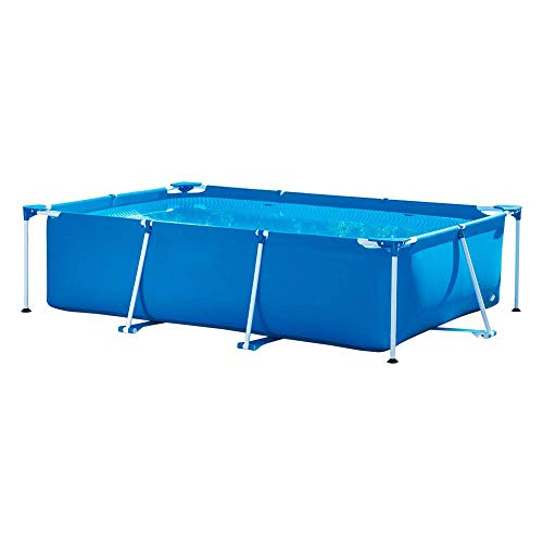 LZTET Metal Frame Rectangular Pools Set Detachable Paddling Swimming Pool Family Garden Outdoors Kids Adult Fun Gift Without Filter Pump,Blue-30020075cm