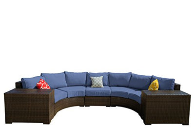 Vida Outdoor VD-PACIFIC-2CV2ET1AS-DENIM Pacific 5 Piece Curved Wicker Sectional Set-Denim Chair