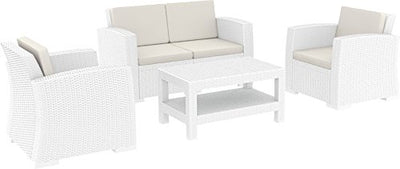 Compamia Monaco 4-Person 4-Piece Patio Seating Set with Cushions, White