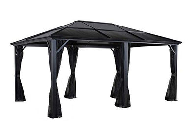 Sojag 500-5157871 Meridien Hardtop Gazebo Outdoor Sun Shelter, 12' by 16', Charcoal