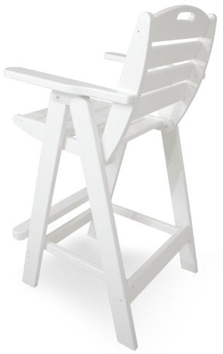 POLYWOOD PWS144-1-WH Nautical 5-Piece Bar Set with Table and Chair, White
