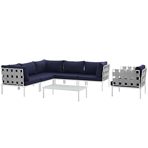 Modway EEI-2620-WHI-NAV-SET Harmony Outdoor Patio Aluminum Sectional Sofa Set, 7 Piece, White Navy