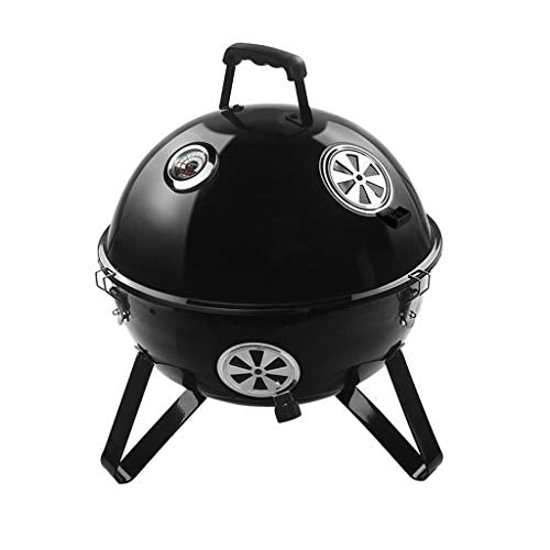 JiaJu Outdoor Barbecue Grill, Portable Enamelled BBQ Grill with Lid and Thermometer for Parties Picnics Camping Charcoal Barbecue