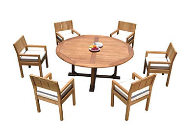 "6 Seats 7 Pcs Grade-A Teak Wood Dining Set: 72"" Round Table and 6 Veranda Arm Chairs #11VR0507"