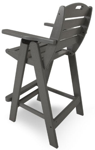 POLYWOOD PWS144-1-GY Nautical 5-Piece Bar Set with Table and Chair, Slate Grey