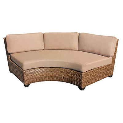 HomeRoots 8 Piece Outdoor Wicker Patio Furniture Set 08b - Beige, Made of PE Resin with Powder Coated Aluminum Finish