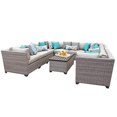TK Classics FLORENCE-11a-BEIGE 11 Piece Outdoor Wicker Patio Furniture Set, Beige