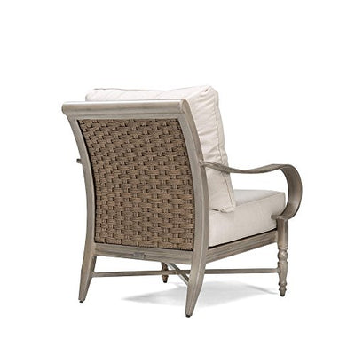Blue Oak Outdoor Saylor 4PC Patio Furniture Conversation Set (Sofa, Aluminum Top Coffee Table, 2 Lounge Chairs) with Outdura Remy Sand Cushion