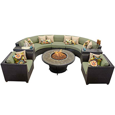 TK Classics 8 Piece Barbados Outdoor Wicker Patio Furniture Set, Cilantro 08f