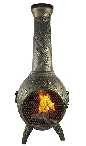 The Blue Rooster CAST Aluminum Orchid Style Wood Burning Chiminea in Gold Accent.
