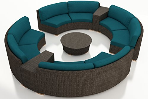Harmonia Living HL-ARD-CH-7CSEC-PC 7 Piece Arden Curved Sectional Set, Spectrum Peacock Cushions