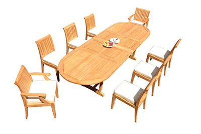"TeakStation 8 Seater Grade-A Teak Wood 9 Pc Dining Set: 118"" Double Extension Mas Oval Trestle Leg Table and 8 Lagos Chairs (2 Arm and 6 Armless Chairs) #31LG1709"