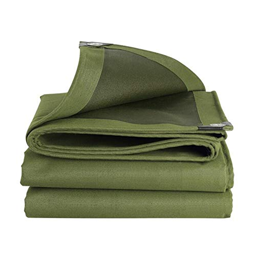 Dall Tarpaulin 600g/m² Thicken Canvas Rainproof Cloth Sun Protection Waterproof Outdoor Metal Buttonhole Durable (Color : Green, Size : 5×8m)