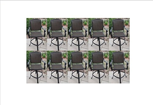 "Santa Clara Outdoor Patio 10 Swivel Barstools 30"" H Dark Bronze Cast Aluminum"