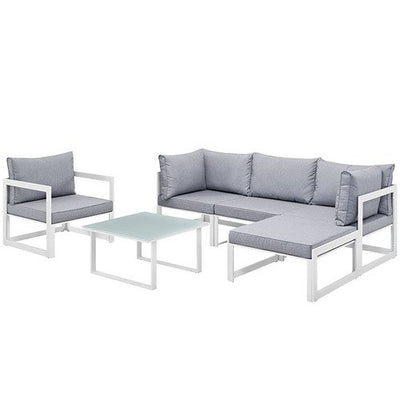 Modway EEI-1731-WHI-GRY-SET Fortuna 6 Piece Outdoor Patio Sectional Sofa Set In White Gray