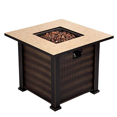 "30"" Square Propane Gas Fire Pit 50000 BTUs Heater Outdoor Table Fireplace Cover"