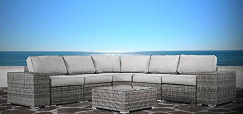Living Source International Furniture Patio Sofa Couch Garden, Backyard, Porch or Pool All-Weather Wicker with Thick Cushions [CM-1074] (8 Piece Round Curve, Verona Grey)