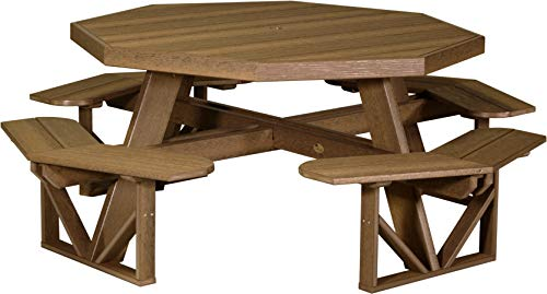 LuxCraft PolyTuf Octagon Picnic Table Antique Mahogany