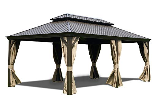 Kozyard Alexander 12'x20' Extra Large Hardtop Aluminum Permanent Gazebo with a Mosquito Net and Privacy Sidewalls (Alexander 12'x20') Commercial Use or for Big Party