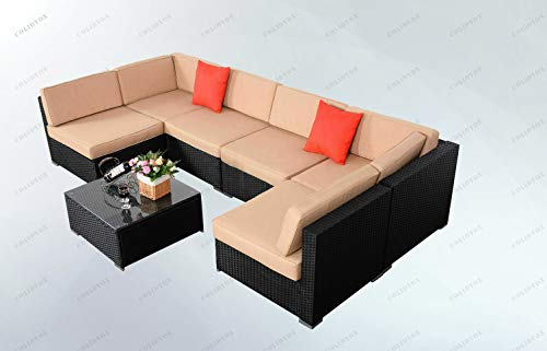 COLIBROX>>>7 Pieces Outdoor Patio Table Chairs includes 2 Corner Sofa,4 Single Sofa And 1 Coffee Table With Poly Wood Top. This Furniture Set Are Of Contemporary Looks And Flavor, Offers Comfortable A
