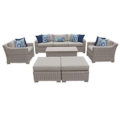 TK Classics Coast 8 Piece Outdoor Wicker Patio Furniture Set in Beige