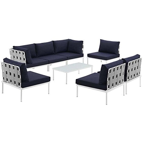 Modway EEI-2625-WHI-NAV-SET Harmony Outdoor Patio Aluminum Sectional Sofa Set, 8 Piece, White Navy
