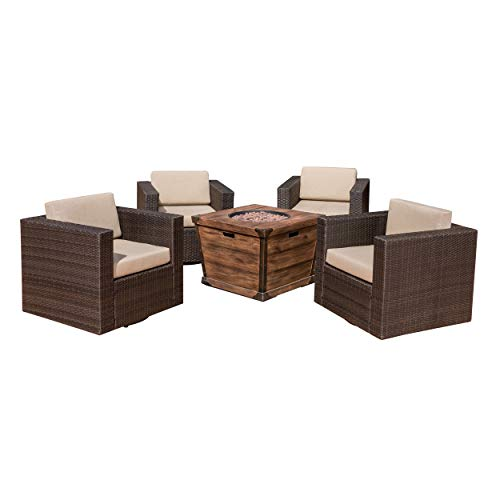 Pearson Outdoor 5 Piece Wicker Swivel Club Chair and Fire Pit Set, Dark Brown with Beige and Brown
